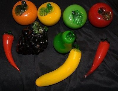50 Item Lot Of 9 Murano Glass Fruits And Vegetables Condition Very Nice Condition No Chips Or Breaks In The Pieces Features Grape Apple Vegetables Fruit