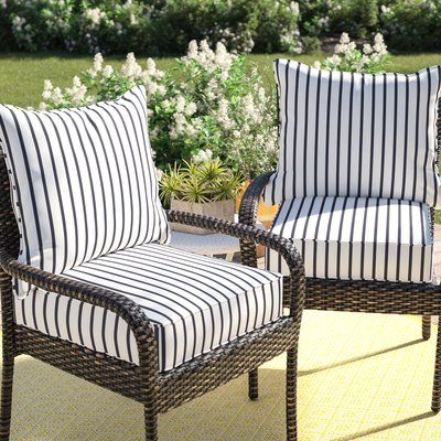 Mercer41 Whitten Stripe Outdoor Sunbrella Seat Back Cushion In 2021 Outdoor Chair Cushions Patio Furniture Cushions Lounge Chair Cushions