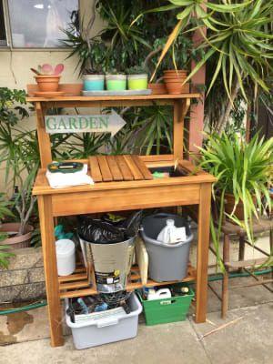 Excellent Natural Wood Outdoor Potting Bench Backyard Outdoor Creativecarmelina Interior Chair Design Creativecarmelinacom