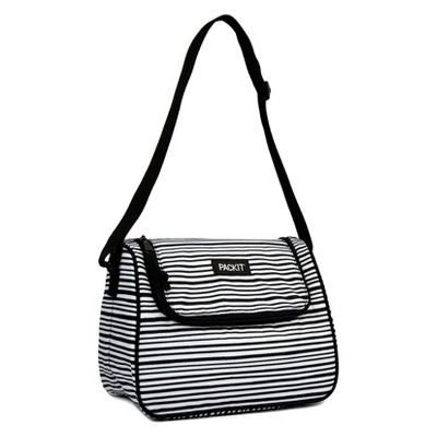 Packit Freezable Soho Lunch Bag Wobbly Stripe Black Lunch