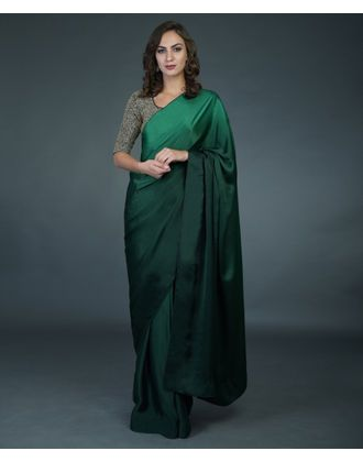 Bottle Green Ombre Saree With Zardozi Hand Embroidered Blouse Fancy Sarees Party Wear Fancy Sarees Saree Designs