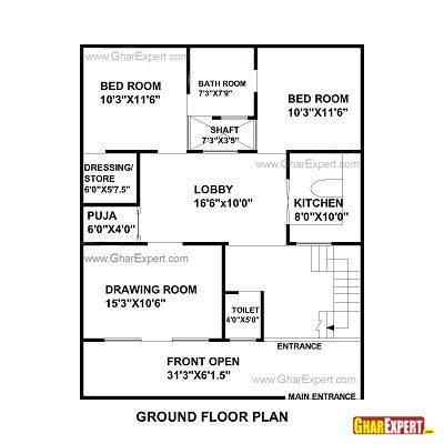 House Plan For 30 Feet By 44 Feet Plot Plot Size 147 Square Yards
