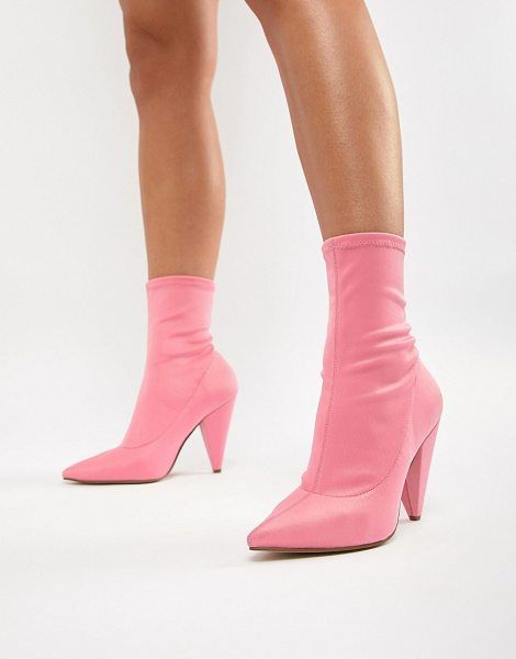 8da41492b2b Shop ASOS DESIGN elope pointed sock boots. Available in pink