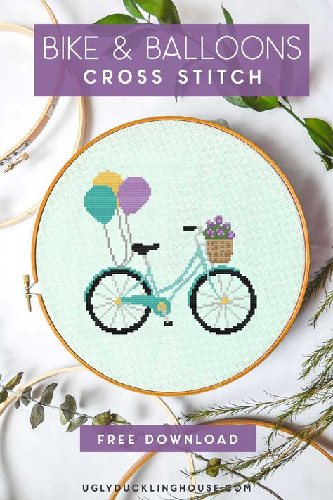 So cute! This free cross stitch pattern of a bike with a basket full of spring flowers and balloons is great for a baby's room or gallery wall - pattern includes full color chart and symbol codes to complete the full DMC floss pattern