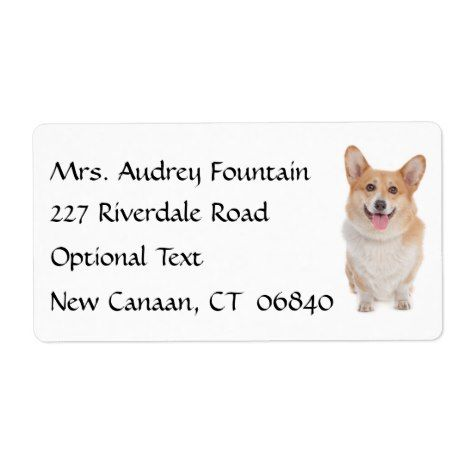 Corgi Puppy Dog Name Return Address Mailing Label Zazzle Com