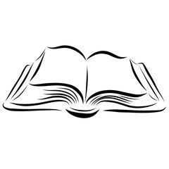 Open Book Drawn With Smooth Lines Open Book Tattoo Book Clip Art Open Book Drawing