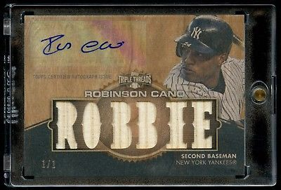 2012 Topps Triple Threads AUTO Wood Card Robinson Cano 1/1 *RARE*