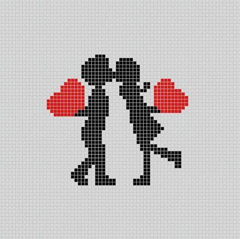Hochzeitspaar 💏 - Pixel Art Patterns   - Pixel Art - Plantillas (Arte Pixelado) - #Art #arte #Hochzeitspaar #PATTERNS #Pixel #Pixelado #Plantillas