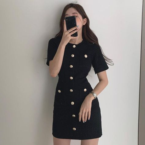 Knit Bag Dress - Black / One size