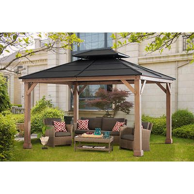 Berkley Jensen 10 X 12 Hardtop Gazebo With Wood Poles Bjs Wholesale Club Hardtop Gazebo Gazebo Backyard Gazebo