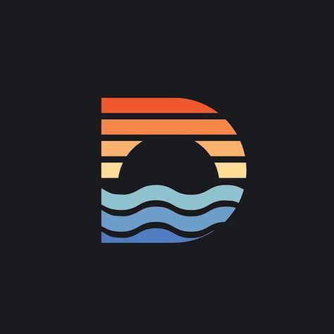 Creative D monogram logo design, Beach sunset symbol, 2019 trending colors,   -  #LogoDesign #logodesignBest #logodesignBranding #logodesignRustic