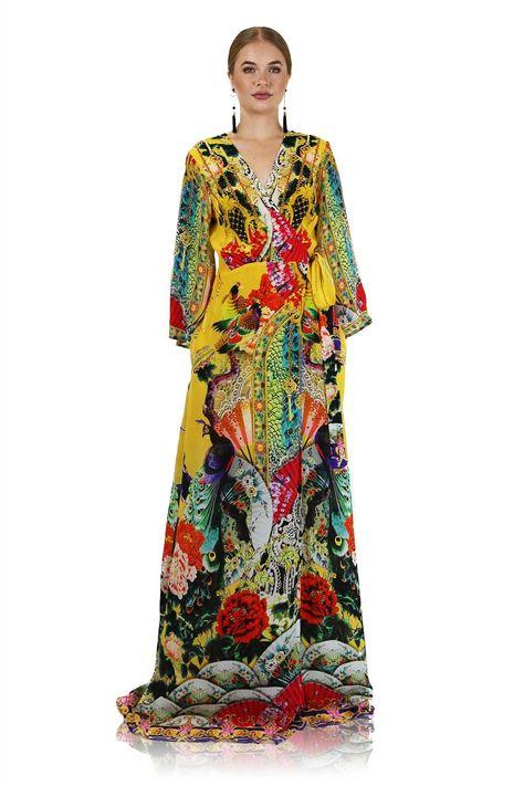 Mustard Yellow Printed Wrap Dress Long Sleeve Maxi   Shahida - Shahida Parides