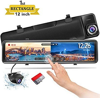 Amazon Com Pormido Mirror Dash Cam Backup Camera 12 Large Full Touch Split Screen Front And Rear View Camera 1296p Hd Waterproof Back Up Car Camera 170 Wide A In 2020