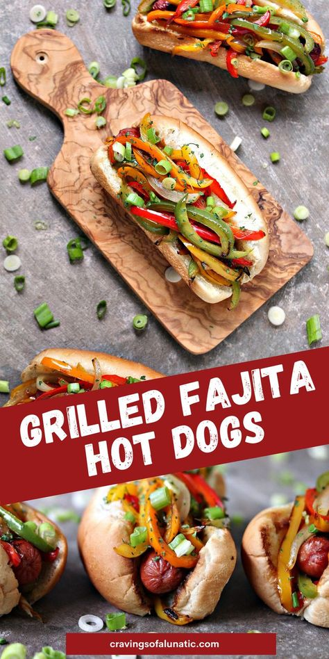 Grilled Fajita Hot Dogs topped with bell peppers and onions. This recipe is incredibly easy to make, yet bursting with flavour. Fire up that grill this weekend and make these for your family! #grill #bbq #cookout #camping #lunch #dinner