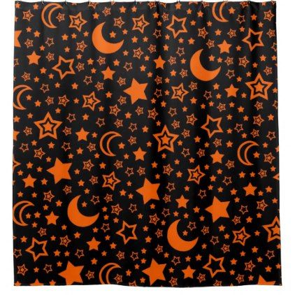 Halloween Moon And Stars Shower Curtain Zazzle Com Star Shower Halloween Moon Custom Shower