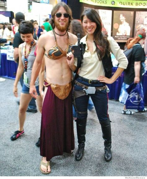 Hallowen Costume Couples Doing it right! Female Han Solo and Male Leia Cross dressers - San Diego Comic Con 2012