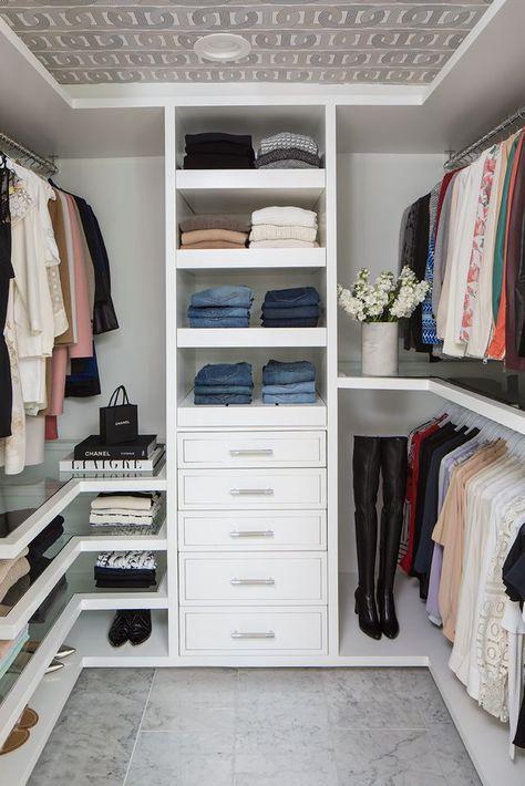 Lisa Adams of LA Closet Design Takes Us Inside Her Own Closet - California Closet Master Closet Design, Walk In Closet Design, Master Bedroom Closet, Closet Designs, Bathroom With Closet, Small Walk In Closet Ideas, Small Master Closet, Bedroom Built Ins, Bedroom Closets