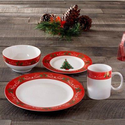 16pc Stoneware Classic Christmas Dinnerware Set Red White American Atelier Red Dinnerware Set Christmas Dinnerware Sets Christmas Dinnerware