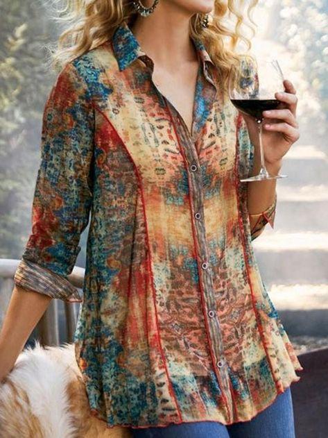 Lapel Color Block Regular Long Sleeve Mid-Length Blouse – Harupick