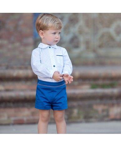 Camisa blanca y bermuda azul de lino para niño