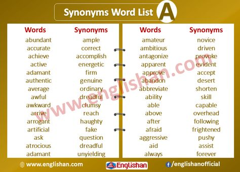 Synonyms List A To Z With Examples Pdf In 2020 With Images