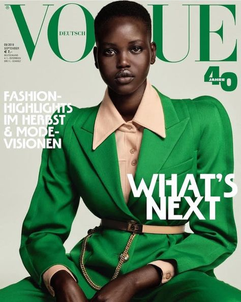 Two models of the moment: Adut Akech and Rebecca Leigh Longendyke were unveiled as the cover stars of Vogue Germany's September 2019 issue. The models each . Vogue Cover, Vogue Magazine Covers, Fashion Magazine Cover, Fashion Cover, Anne Klein, Editorial Photography, Fashion Photography, Glamour Photography, Lifestyle Photography