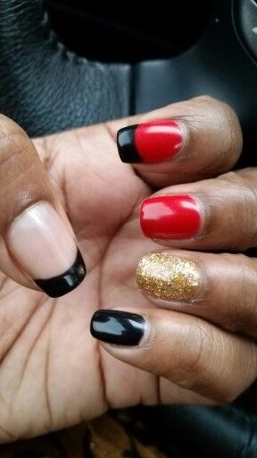 Black,Red & Gold nails