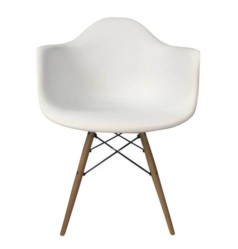 Eiffel Armchair - Wooden Legs Material: Plastic (PP: Polypropylene) | Wooden Legs Dimensions: W 61cm x D 62.5cm x H 81cm Eiffel Armchair Shipping Information: Only ships to the United States and Canada