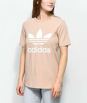 adidas Trefoil Ash Pearl & White T Shirt | clothes in 2019