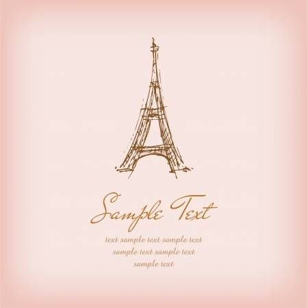 Template With Sketchy Illustration Of Eiffel Tower And Sample Eiffel Tower Eiffel Illustration