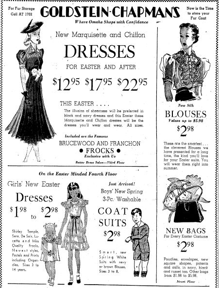 "A 1938 newspaper ad for new Easter dresses, published in the Omaha World Herald (Omaha, Nebraska), 15 April 1938. Read more on the GenealogyBank blog: ""Our Ancestors' Easter Parades & Spring Fashions."" http://blog.genealogybank.com/our-ancestors-easter-parades-spring-fashions.html"