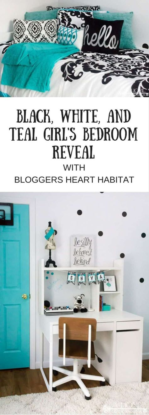 Teal Black and White Girl s Bedroom Reveal with Bloggers  Heart Habitat Teal Black and White Girl s Bedroom Reveal with Bloggers  Heart Habitat Christine Linardo chrislinardo Abby s room A gorgeous black white nbsp  hellip   #bedroom #black #bloggers #girls #habitat #heart #makeoverbeforeandafterwomendiy #reveal #white