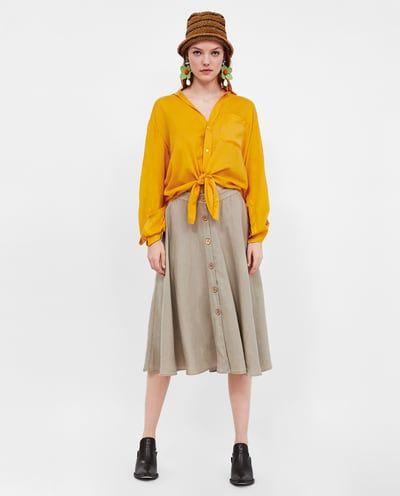 d6d57a008 Imagen 1 de FALDA LINO BOTONES de Zara | All about Zara ♡ | Faldas ...