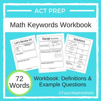 Math Act Prep Keywords Workbook Definitions With Example