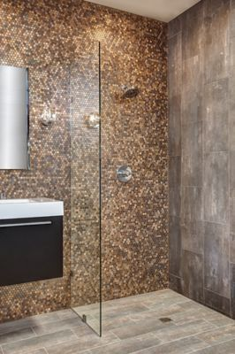 Brushed Copper Penny Round Metal Mosaic Wall And Floor Tile Wall And Floor Tiles Metal Mosaic Wall Mosaic Shower Tile