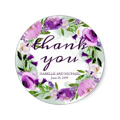 Ultra violet rose floral personalized thank you classic round sticker thank you gifts ideas diy