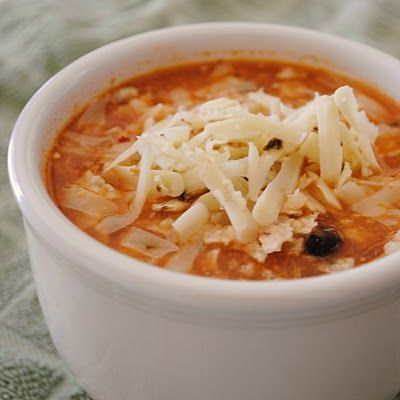 Chicken enchilada soup in a slow cooker - yum!