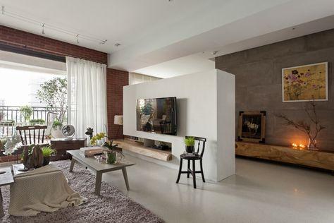 Retro-Wohnzimmer einrichtung Parkettboden-lack finish Komfortables - einrichtung mit minimalistisch asiatischem design