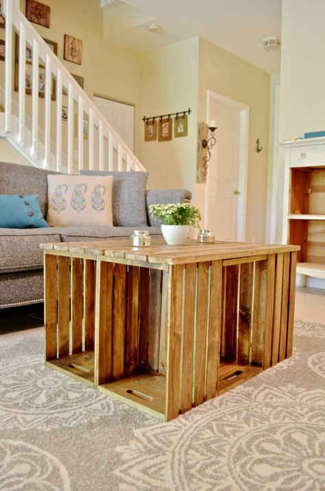 Pallet Coffee Table with Wine Crate Sides.