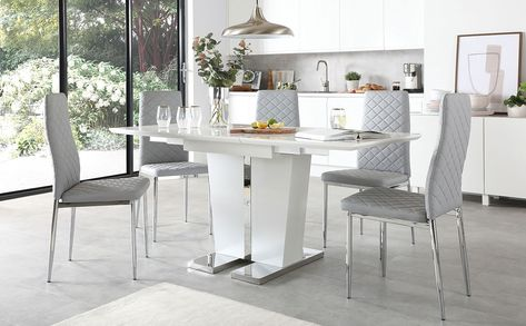 Vienna White High Gloss Extending Dining Table With 6 Renzo Light Grey Leather Chairs Extendable Dining Table Dining Table White Leather Chair