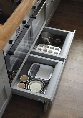 Fit Plinth Drawers Under Your Built In Oven To Create A Convenient Place To Store Baking Trays An Kitchen Remodel Design Kitchen Decor Trends Built Under Ovens