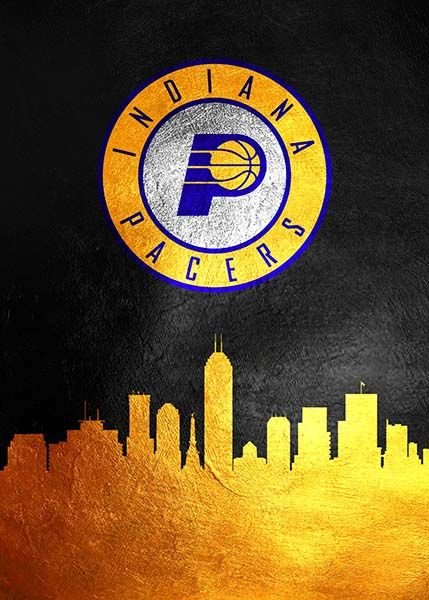 Indiana Pacers Skyline Indiana Pacers Basketball Wallpaper Nba Basketball Art