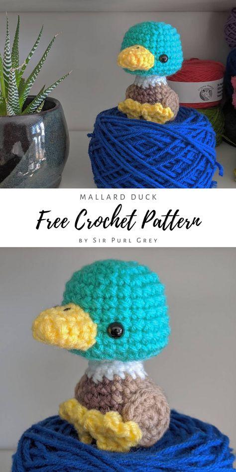 Crochet a cute mallard duck with this free amigurumi pattern! Quick Crochet Patterns, Crochet Amigurumi Free Patterns, Easy Crochet Projects, Crochet Animal Patterns, Crochet Animal Amigurumi, Crochet Crafts, Crochet Dolls, Easy Crochet Animals, Crochet Birds