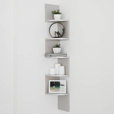 48 5 X 7 7 Zigzag Corner Shelf Gray Danya B Corner Shelves Large Corner Shelf Shelves