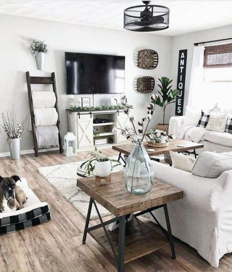 100 Best Farmhouse Living Room Tv Stand Design Ideas 46 in 2020 Small Space Living Room, Living Room Grey, Home Living Room, Apartment Living, Living Room Designs, Small Spaces, Tiny Living, Small Apartments, Simple Living