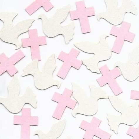 Baptism Dove & Cross Table Decorations in Pink, Lavender, Blue, Silver, Gold or Choice of Colors by SetToCelebrate