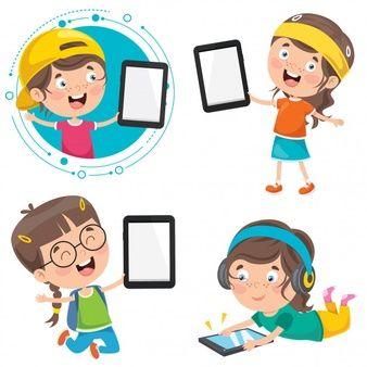 Ninos Lindos Felices Usando Tableta Vector Premium Caricaturas De Ninos Dibujos Para Ninos Poses De Ninos