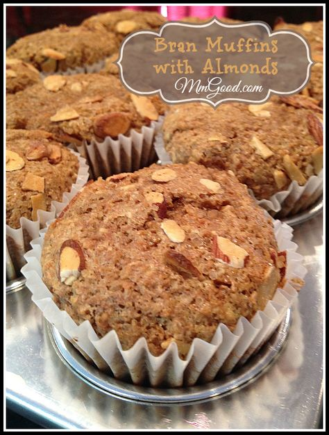 After many attempts to make the perfect bran muffin, here it it!  My bran muffins with almond have a hint of orange in them | MmGood.com