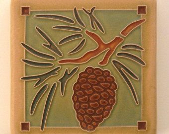 4x4 Arts /& Crafts Pinecone Tile in Spruce by Arts /& Craftsman Tileworks