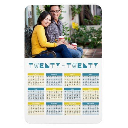 2020 Photo Calendar Blue And Ochre Grid Magnet Premium Gifts Gift Idea Customize Unique Photo Calendar Personalized Photo Gifts Calendar